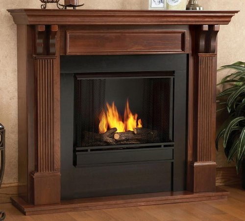 Ashley Ventless Fireplace in Mahogany Finish