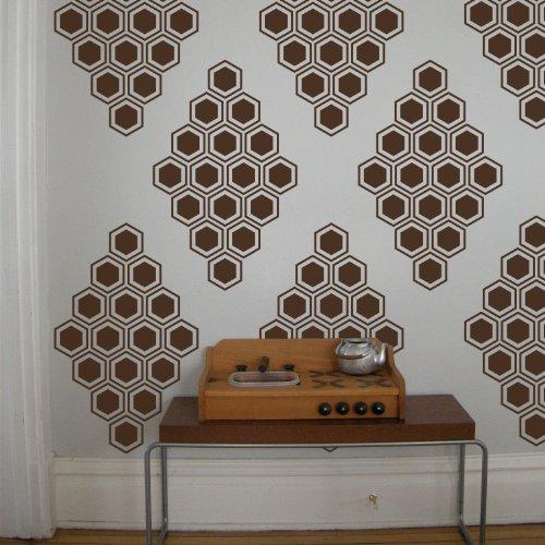 "Byrdie Graphics Honeycomb Diamonds Vinyl Wall Decor Stickers Qty: 12 - 13.25"" X 21.25"" - Turquoise"