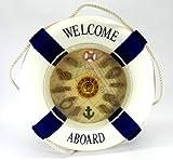 マリンテイスト たっぷりな 浮き輪型 かわいい 文字盤 掛け時計 オシャレな インテリアクロック (ブルー, 35cm)