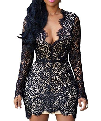 envy Black Lace Nude Mini Dress (M, Black) LC22535