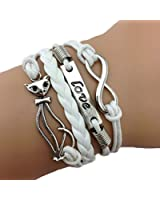Bracelet Infini Love et Chat / Infinity / One Direction - Blanc / Argent
