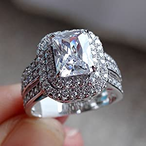 she Jewellery 2.4 Ct Radiant White Cz 925 Sterling Silver Wedding Engagement Ring Size 6 from Newshe Jewellery