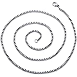 2mm Stainless Steel Box Chain Necklace available in 22, 24, 26, 30 and 36 inch length