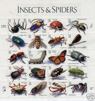 Insect & Spiders pane of 20 x 33 cent U.S. Stamps 1998