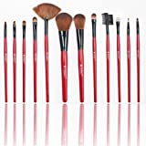 SHANY Professional 13-Piece Cosmetic Brush Set with Pouch, Set of 12 Brushes and 1 Pouch, Red ~ SHANY Cosmetics