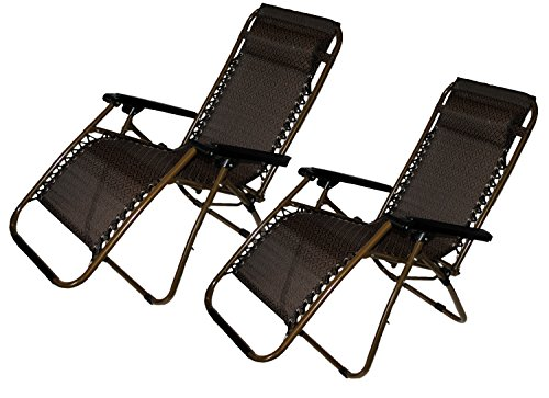 Set-of-2-Zero-Gravity-Canopy-Lawn-Patio-Chair-with-Head-Rest-Brown