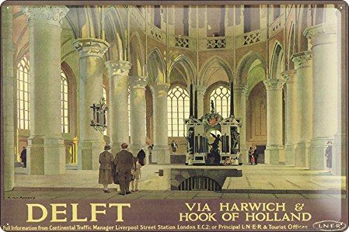 Blechschild Nostalgie Werbeplakat Urlaub Reisen Holland Delft Kathedrale Zeichnung 20x30