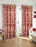 Homefab India Set of 2 Elegance Maroon Curtains