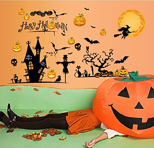 ufengke® Happy Halloween Party Pumpkin Head Witch Broom Spider Black Bat Jackstraw Wall Decals, Living Room Bedroom Removable Wall Stickers Murals