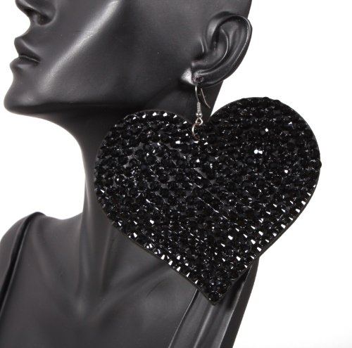 Basketball Wives Iced Out Jet Black Felt Heart Shaped Earrings 4 Inch Drop Light Weight POParazzi