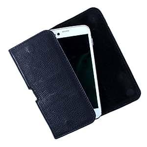 Dooda Genuine Leather Belt Pouch Case For Intex Aqua Curve (BLACK)