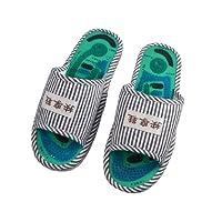 Rosallini Pair Black White Stripe Patterned Vamp Foot Acupoint Massage Slippers for Men from Rosallini