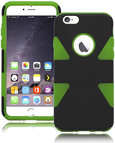 "Bastex Heavy Duty Two Piece Black Case Green Silicone Cover For Apple Iphone 6, 4.7"" front-63141"