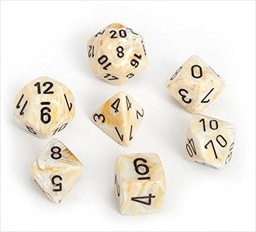 Chessex Manufacturing 27402 Cube Set Of 7 Dice - Marble Ivory With Black Numbering