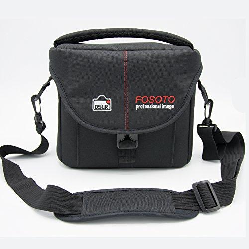 FOSOTO 大容量一眼レフカメラケース 仕切り調整可能 多機能 防水 ブラック