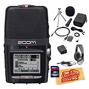 Zoom H2n Handy Recorder Bundle with APH-2n Accessory Pack, 8GB SD Card, Headphones, and Polishing Cloth
