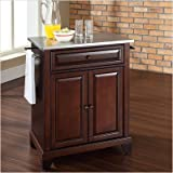 Crosley Furniture Newport Stainless Steel Top Mahogany Kitchen Island