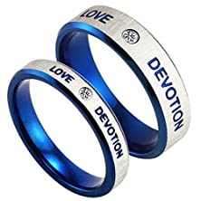buy Mens Womens Stainless Steel Engrave Love Devotion Couple Blue Silver Ring Wedding Promise Band Cz Inlay