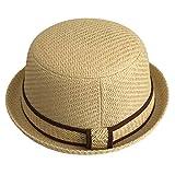 (ビグッド)Bigood キッズペーパーハット ストローハット 子供用帽子 カジュアル 旅行 通学 お出かけに ベージュ