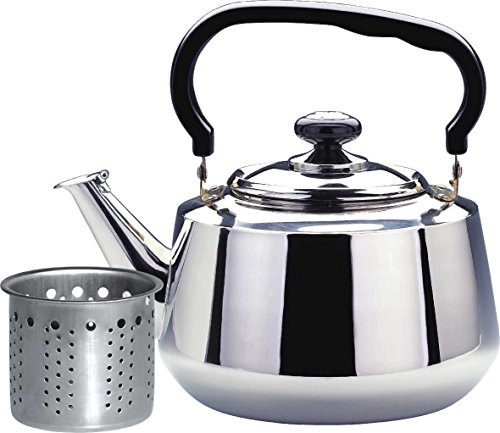 Tea Kettle-1.6 Liters Stovetop Kettle with STRAINER, Heavy Gauge Stainless Steel Tea Pot with Shiny Mirror Polished