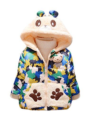Tkria cotone del bambino da parte anche camuffamento cappotto di lana con le orecchie 0-6 mesi