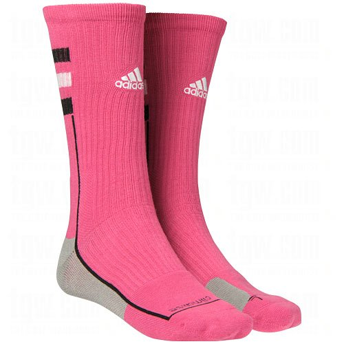 Adidas Men's Climalite Team Speed Crew Socks-Pink-Large - 1