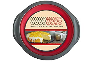 Cake Pan - Round, Best Steel Framed Non Stick Silicone Bakeware. Looking for Baking Supplies? This Non-stick Mold Works for a Cake, Quiche, Pie or Tart. These Healthy Baking Pans Retain Shape and Provide Stability - Lifetime Guarantee (Red)