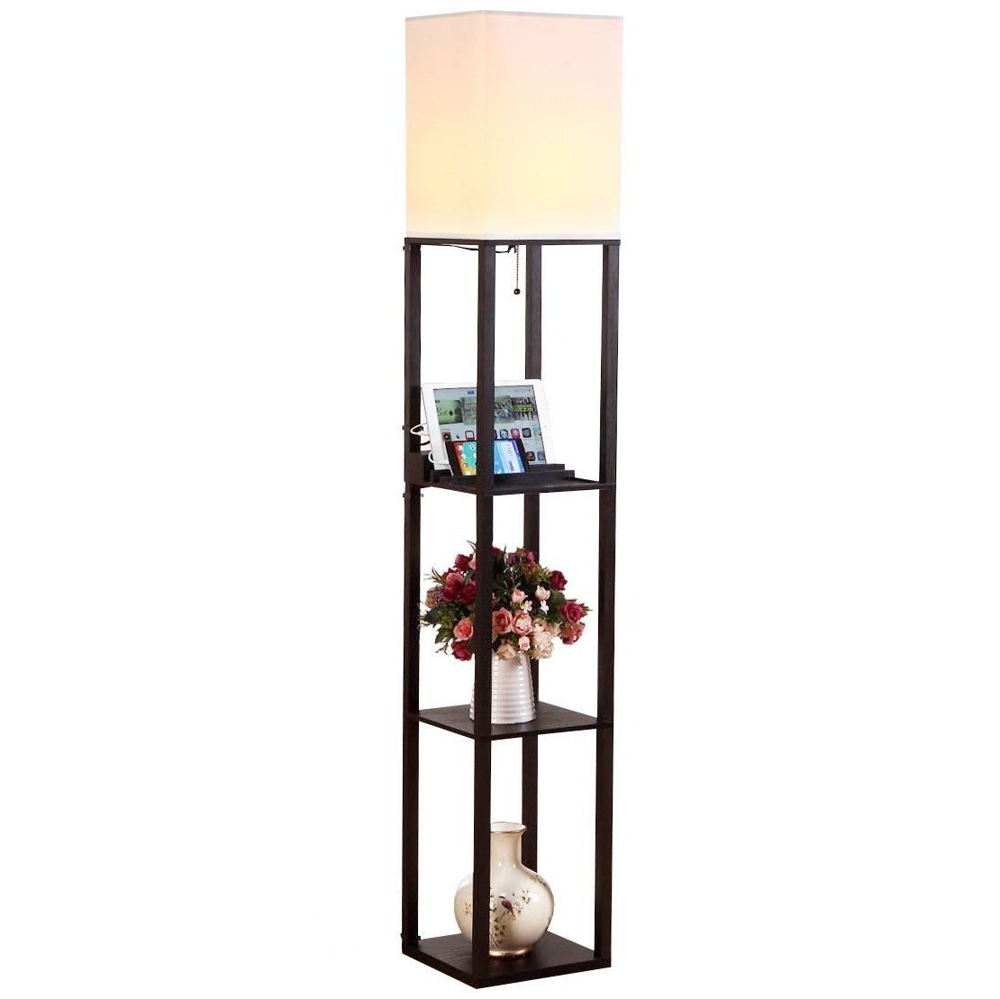 Brightech Maxwell LED USB Shelf Floor Lamp Modern Asian Style Standing Lamp with Soft Diffused Uplight Wooden Frame Convenient Open Box Display Shelves, 2 USB Ports and Electric Outlet Black
