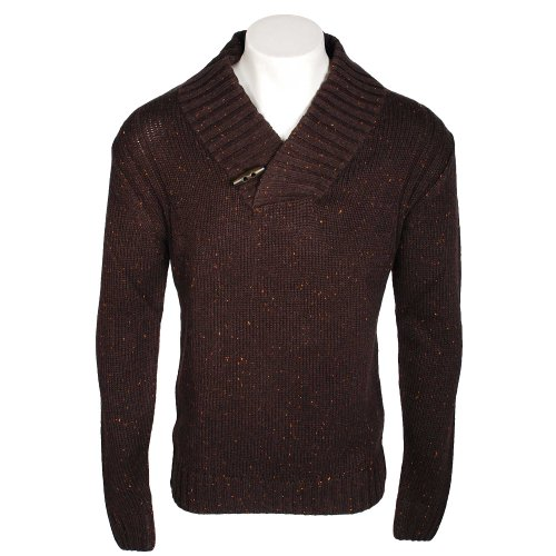 Kickers Men's Chocolate Marl Wool Mix Toggle button Neck Jumper in Size Medium