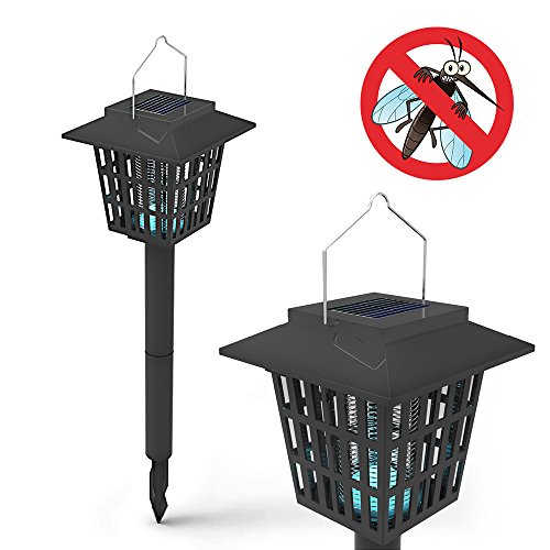 Electronic Insect Killer Mosquito Bug Zapper LED Solar Powered Garden Lamp Kills Insects and Works Just As a Latern 2 in 1 (Switch) - 8-10 Hours Pest Control When Fully Charged