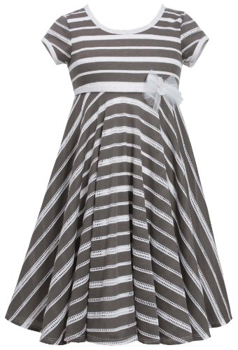 Brown White Perforated Stripe Knit Dress Br4Ba, Brown, Bonnie Jean Tween Girls 7-16 Special Occasion, Flower Girl Social Party Dress front-1005945