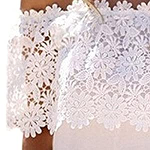 Yonas Women's Off Shoulder Blouse Embroidery Lace Crochet Tops T-shirt