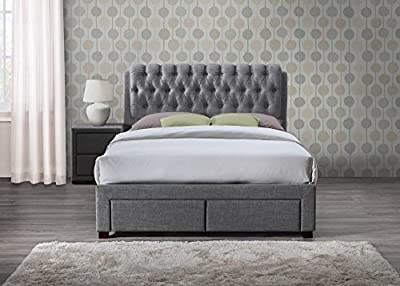 Happy Beds Valentino Fabric Bed 2 Drawer Storage Bedroom Furniture Mattress