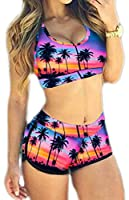 Bettydom Women's Floral Printed Beachwear Plus Size Tank Top & Shorts Tankini 2 Pieces Bikini Sets