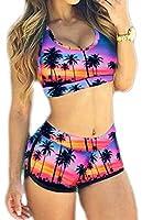 Bettydom Women's Floral Printed Beachwear Plus Size Tank Top & Shorts Tankini 2 Pieces Bikini Sets