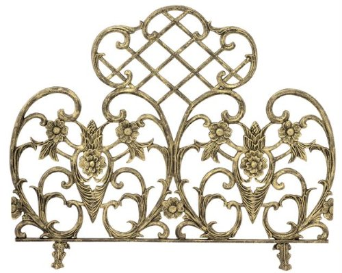 UniFlame Single Panel Cast Aluminum Screen, Antique Gold (Antique Fireplace Screen compare prices)