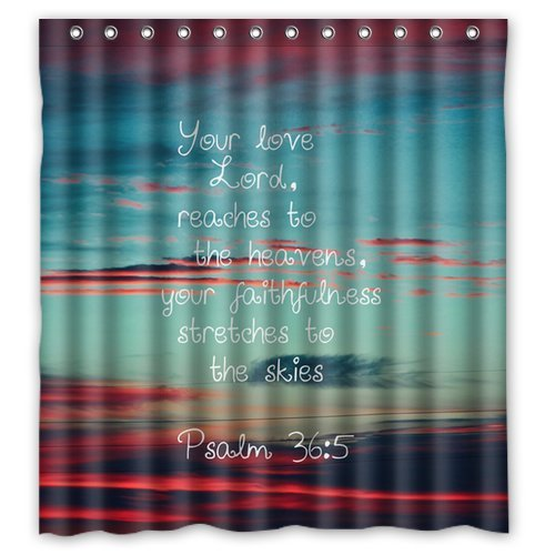 Custom Unique Design Christian Jesus Bible Verse Waterproof Fabric Shower Curtain, 72 By 66-Inch back-557111