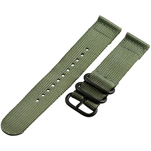 24Mm Slate Green 2 Piece 3-Ring Pvd Heavy Nato Nylon Replacement Watch Strap / Band