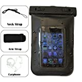 QQ-Tech Audio Waterproof Case Bag for iPhone with Built in Headphone Adapter, Waterproof Earphones, Removable Strap Armband for iPhone 3, iPhone 4, iPhone 4S, iPhone 5, iPod Touch, Nokia Lumia 900, Nokia Lumia 800, and other Android Smartphone / DROID, with Gym / Sport / Jogging Armband