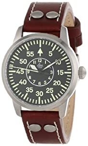 Laco 1925 861587 - Reloj analógico automático para hombre, correa de cuero color negro
