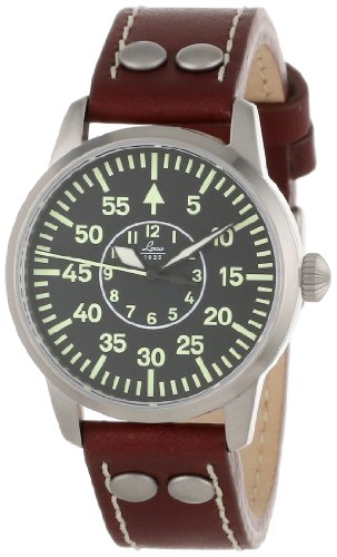 Laco 1925 Chrono Men's Automatic Watch with Black Dial Analogue Display and Brown Leather Strap 861587