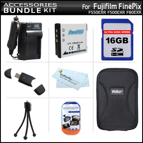 16GB Accessory Kit For Fujifilm FinePix F550EXR F500EXR F80EXR F600EXR Digital Camera Includes 16GB High Speed SD Memory Card + USB 2.0 SD Reader + Replacement (1100Mah) NP-50 Battery + AC/DC Rapid Charger + Case + Screen Protectors + Mini Tripod + More