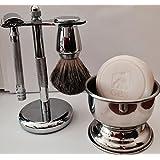 Shaving Gift Set with Merkur Safety Razor, Bowl, GBS Shaving Soap, Badger Brush, Stand and Safety Razor