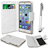 Online-Gadgets UK - Sony Ericsson Xperia neo V PU Leather Suction Pad Wallet Case Cover & High Sensitive Stylus Pen - White