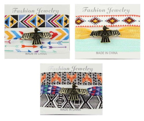 3TEN Set of Three Native American Pony Tail Ribbon Hair Tie Eagle Charm Band