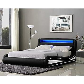 NEPTUNE Lit adulte avec LED 160x200cm noir/blanc