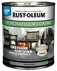Rust-Oleum 244161 Porch Floor Paint, Pewter Satin, 1-Quart