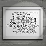 `Noir Paranoiac` Art Print - THE JAM - Sound Affects - Signed & Numbered Limited Edition Typography Unframed 10x8 Inch Album Wall Art Print - Song Lyrics Mini Poster