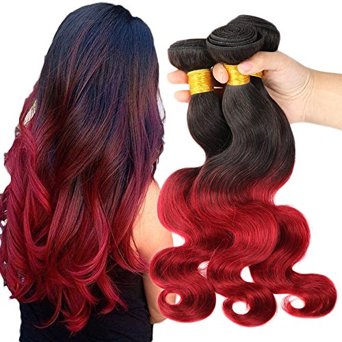 [Beautyplus Hair Kinky Curly Ombre Body Wave Black to Red for Pretty Girs' Medium Length (Natural Black to Red T1B/RED) Unprocessed Virgin Human Hair Extensions (24 24 24] (Wild Curl Black Wig)
