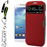 YESOO (Red) Smart View Flip Cover With Magnetic flap closure Case for Samsung Galaxy S4 S IV SIV S 4 Iv Gt-i9500 With Aluminum Touch Pen And Silicone Key Chain (Compatible Model: AT&T, T-Mobile, Sprint, Verizon, US Cellular)
